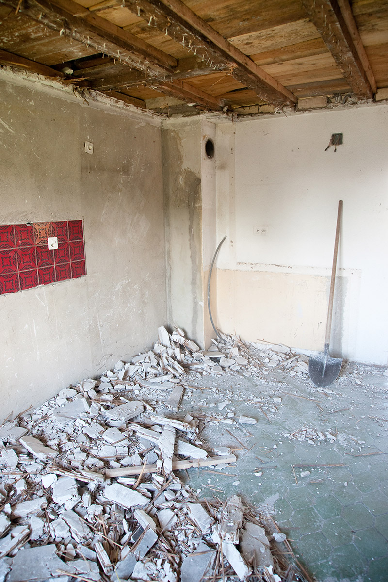 rubble before basement remodeling